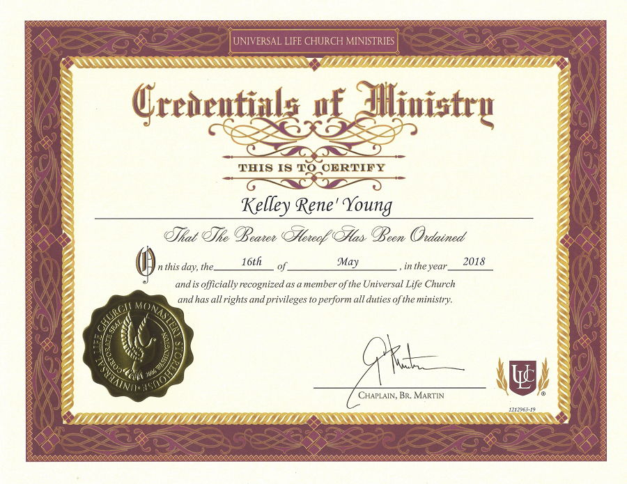 Credential of Ministry